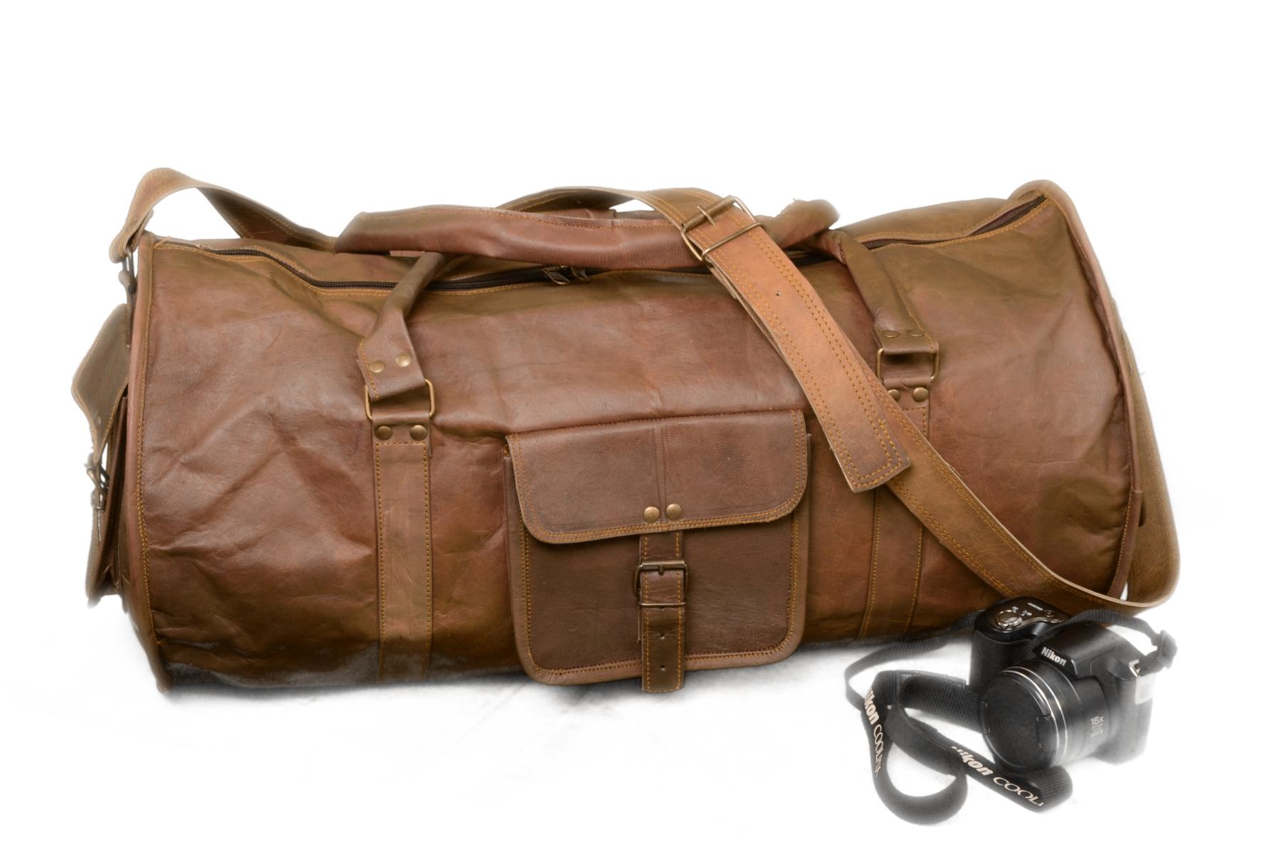 b5f94cb61e 24 Inch Goat Leather Handmade Vintage Travel Luggage Duffel Gym Overnight  Bag