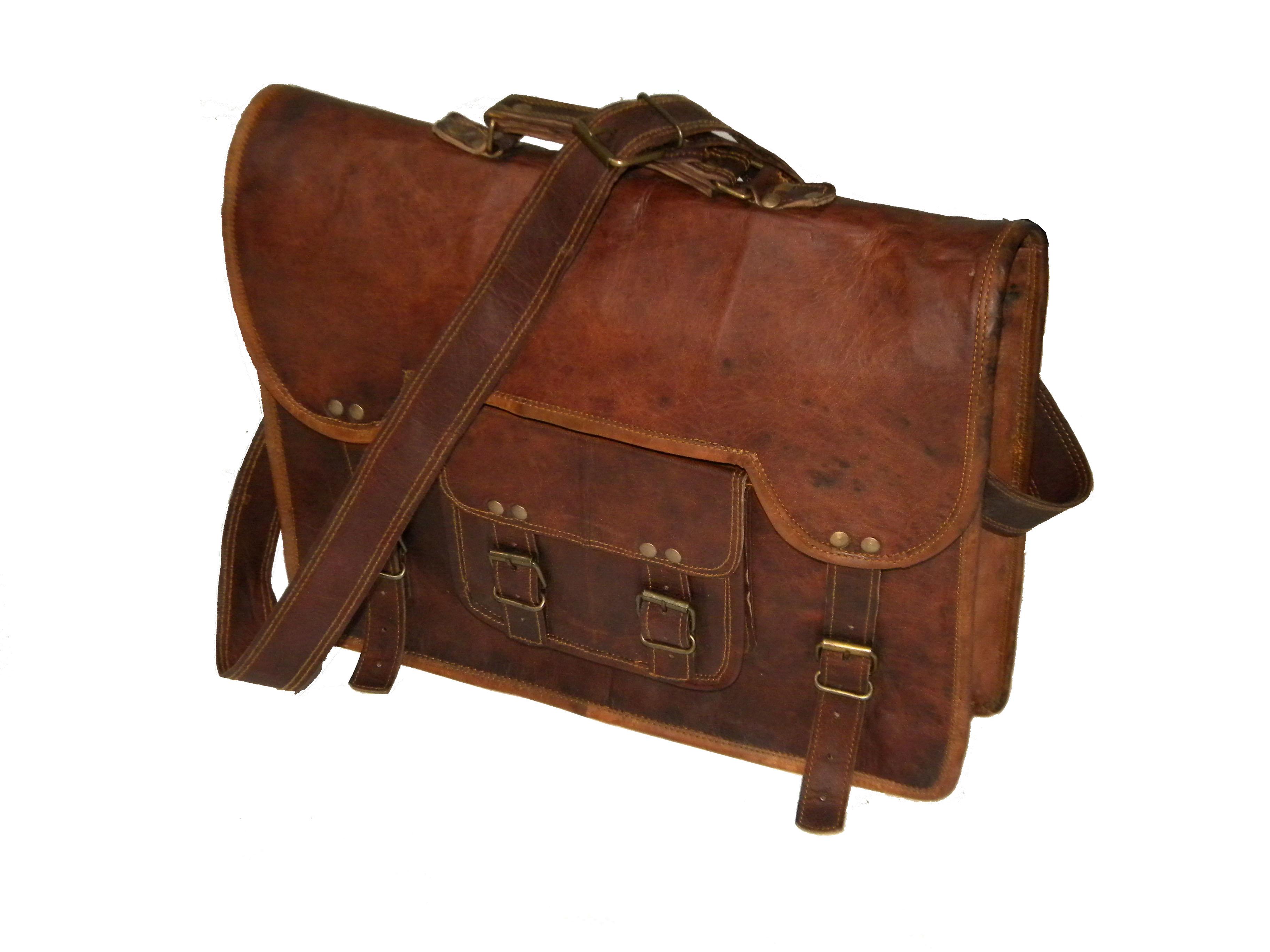 5b4e47f96 Real 14 Inch Goat Leather Vintage Craft Messenger Hide Laptop Bag ...