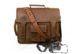 New 14″ Handmade Rustic Goat Leather Flap Satchel Laptop Bag Messenger Bag c842a6d8cdb3a