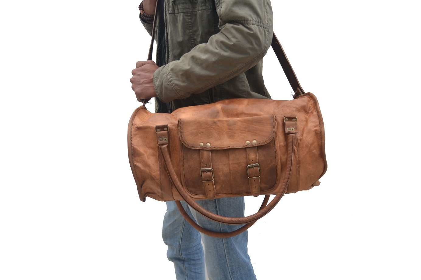 18″ Inch Leather Weekend Bag – Leather Duffle Bag ...