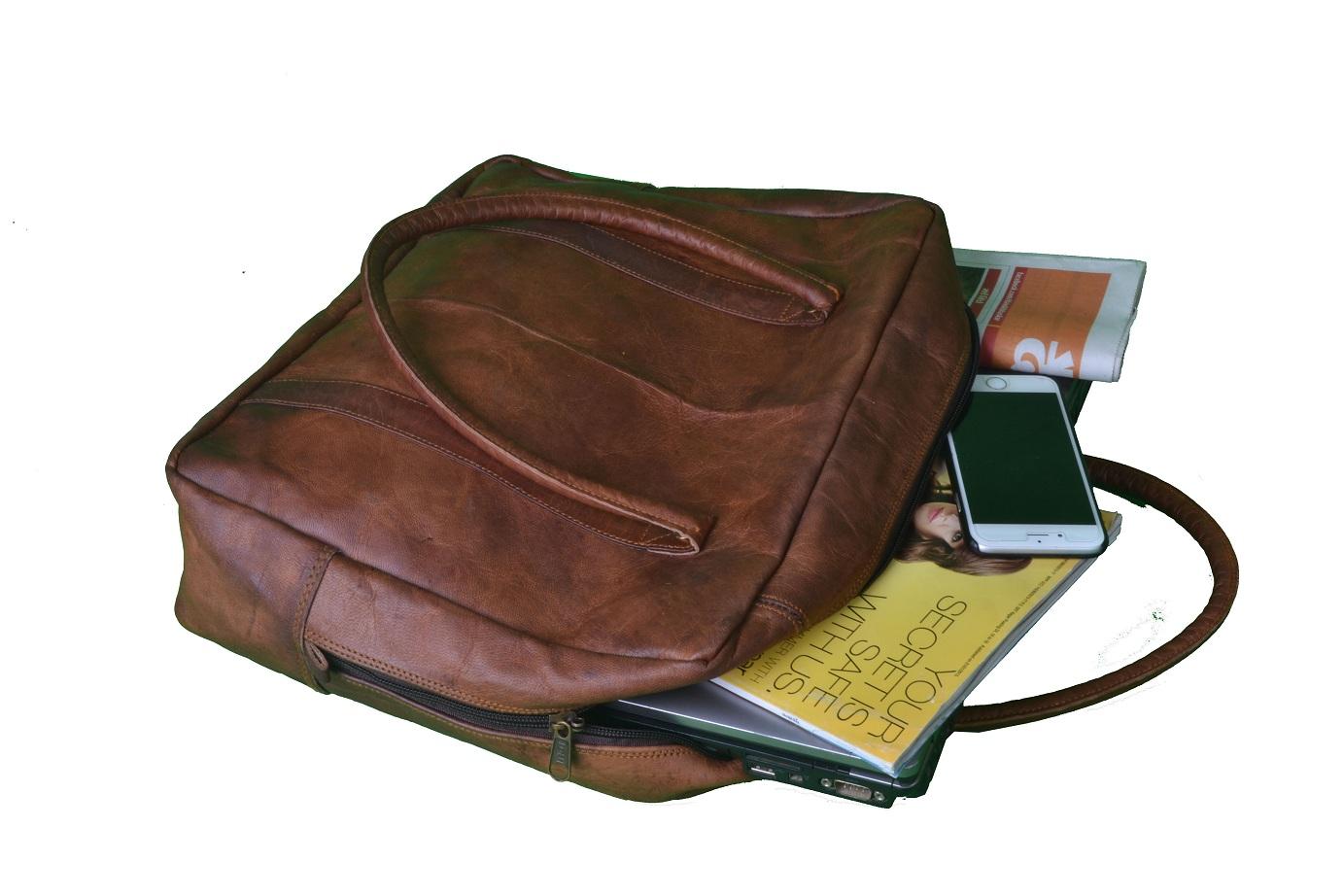 Genuine 16 Inch Leather Laptop Bag Messenger For Men Briefcase