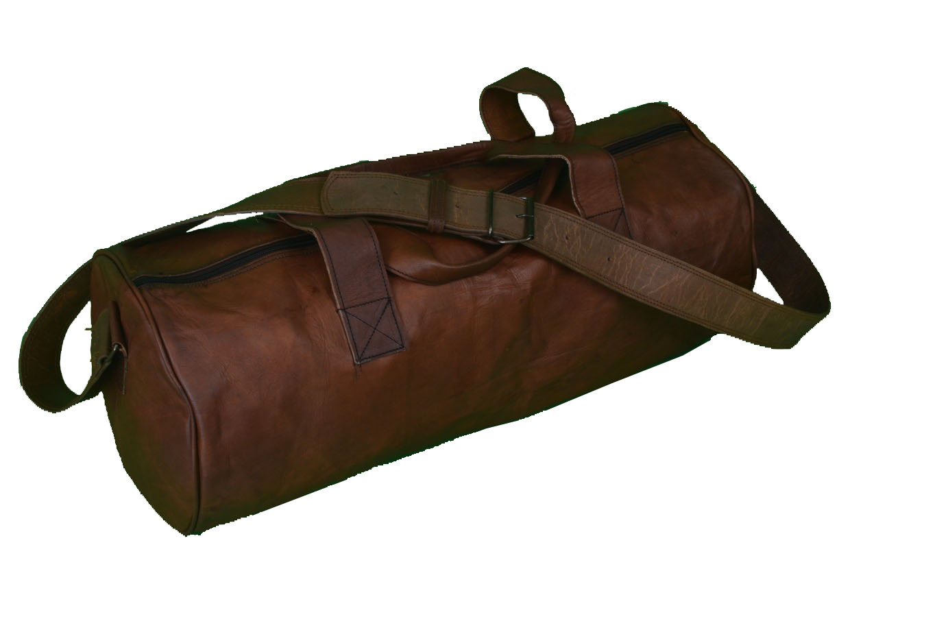 Distressed 28 Round Leather Overnight Bag Weekend Travel Duffle Holidaly Cabin Gym