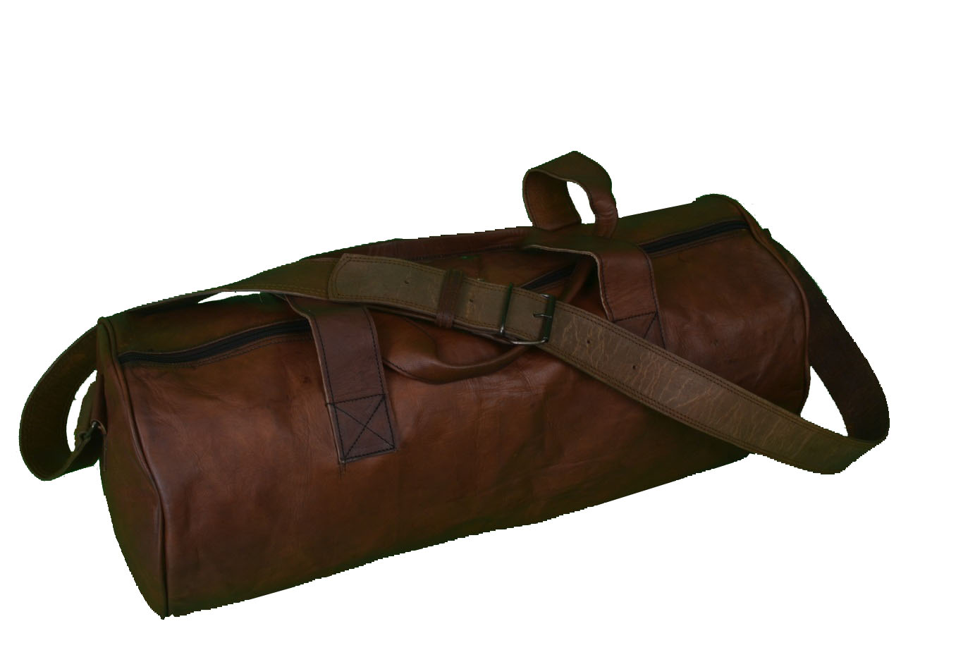c8c31080ffde Distressed 28″ Round Leather Overnight Bag Weekend Travel Bag Duffle ...