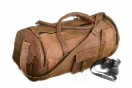 Handmade Goat Leather 24 Duffel Sports Gym Bag DXLR Billy Goat Designs