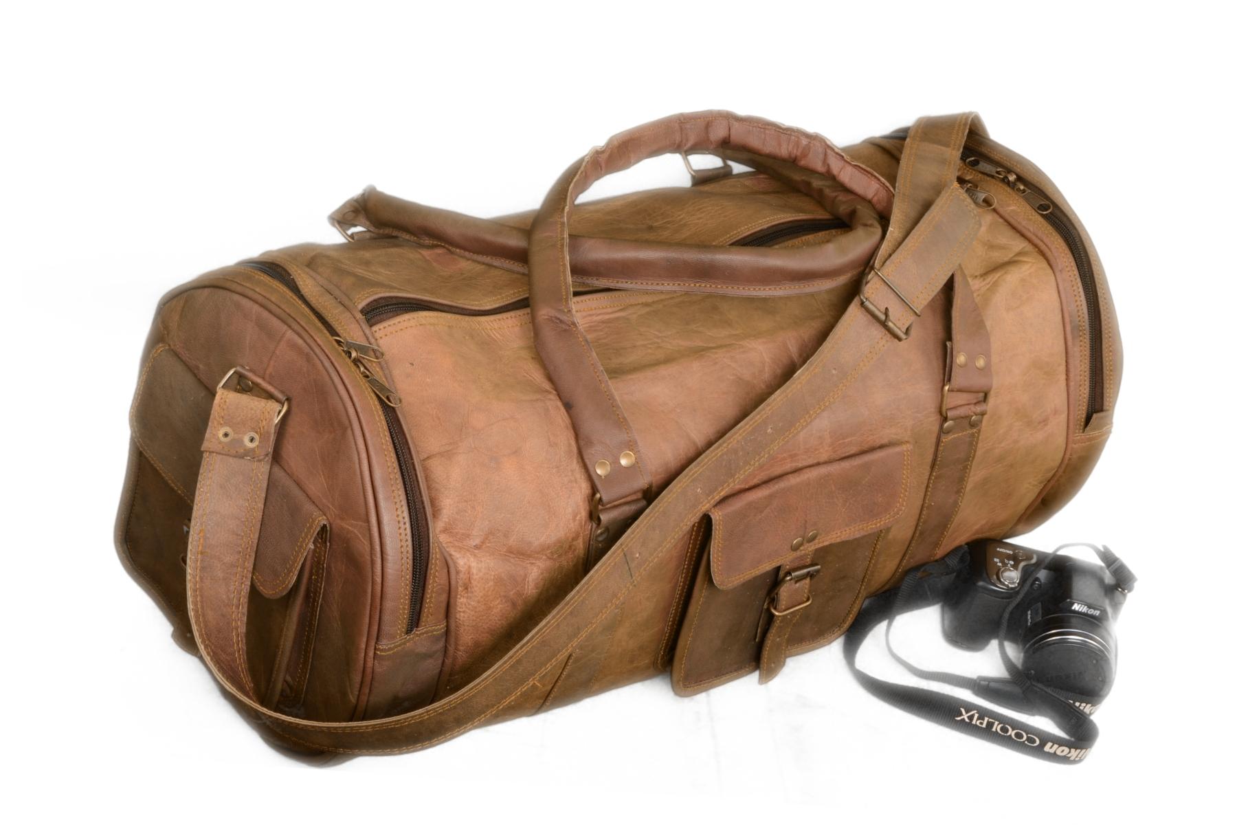 Real 28 Inch Genuine Handmade Goat Leather Vintage Look Duffel Bag ... f41fc2fd3599