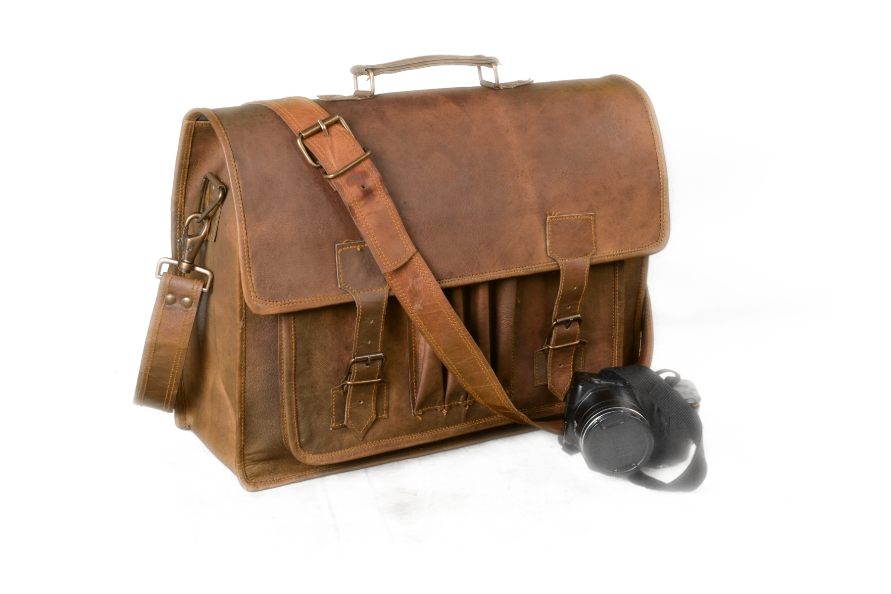 Leather 18 Messenger Bag Ipad Tablet Satchel Personalized