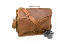 Mens Top Layer Real Cow Leather Shoulder Briefcase Attache 15 Inch Laptop Bag Tote